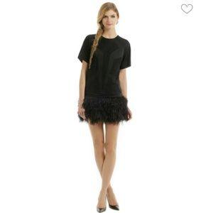 Robert Rodriguez Ostrich Feather Skirt Dress